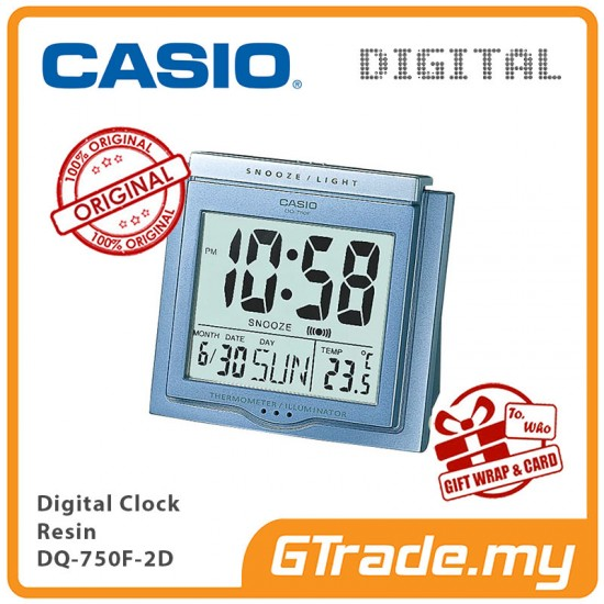 CASIO ALARM DQ-750F-2D Digital Alarm Clock | Thermometer Light