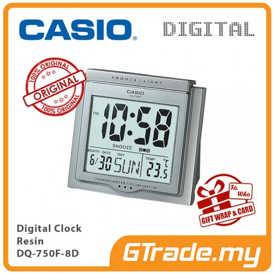 CASIO ALARM DQ-750F-8D Digital Alarm Clock | Thermometer Light
