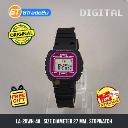 [READY STOCK] CASIO STANDARD Kids Ladies LA-20WH-4A Digital Daily Alarm Watch Black Pink Resin Band jam tangan wanita . casio watch . casio watch women