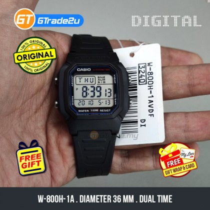 [READY STOCK] CASIO STANDARD MEN W-800H-1A Digital Dual Time Watch Black Resin Band watch for man . jam tangan lelaki . men watch . watch for men . casio watch for men . casio watch