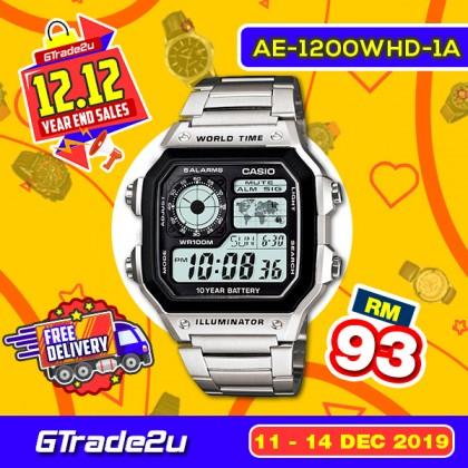 [READY STOCK] CASIO STANDARD AE-1200WHD-1AV Digital Watch | 10Y Batt. Wolrd.T