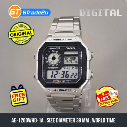 [READY STOCK] CASIO STANDARD Men AE-1200WHD-1A Digital World Time Watch Silver Stainless Steel Band watch for man . jam tangan lelaki . men watch . watch for men . casio watch for men . casio watch