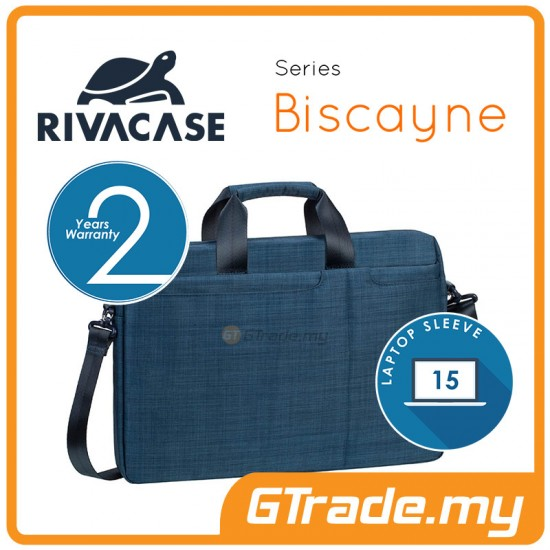 RIVACASE Biscayne Laptop Carry Bag Apple MacBook Air Pro 15 Blue