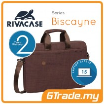RIVACASE Biscayne Laptop Carry Bag Apple MacBook Air Pro 15 Brown