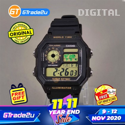 [READY STOCK] CASIO STANDARD MEN AE-1200WH-1B Digital World Time Watch Black Resin Band watch for man . jam tangan lelaki . men watch . watch for men . casio watch for men . casio watch