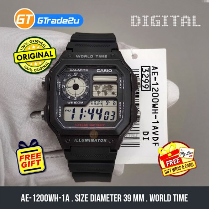[READY STOCK] CASIO STANDARD Men AE-1200WH-1AV Digital World Time Watch Black Resin Band watch for man . jam tangan lelaki . men watch . watch for men . casio watch for men . casio watch