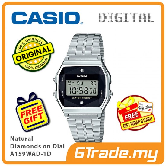 [READY STOCK] CASIO Men A159WAD-1D Digital Watch | Natural diamonds