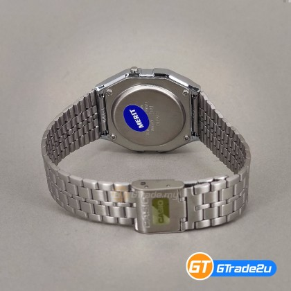 [READY STOCK] CASIO STANDARD Men A159WAD-1D Digital Natural diamonds Watch Silver Black Stainless Steel Band watch for man . jam tangan lelaki . men watch . watch for men . casio watch for men . casio watch