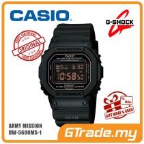 [G-ZONE] CASIO G-SHOCK DW-5600MS-1 Digital Watch | Army Force Matte Black