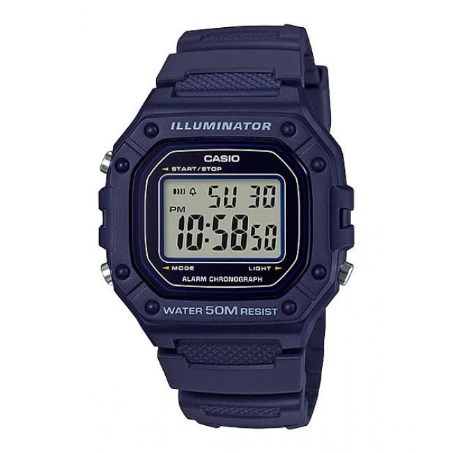 [READY STOCK] CASIO Men W-218H-2A Digital Watch | 50-meter Water Resist. Daily alarm