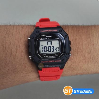 [READY STOCK] CASIO Men W-218H-4B Digital Watch   50-meter Water Resist. Daily alarm