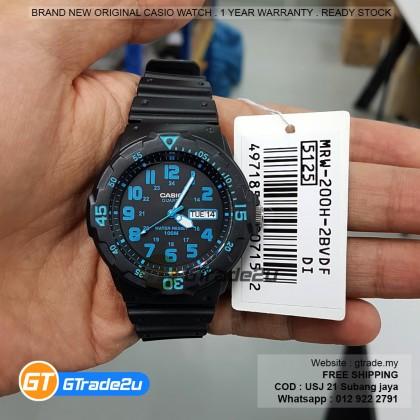 Casio Standard Men MRW-200H-2B MRW200H-2B Analog Rotary Bezel Watch Black Resin Band watch for man . jam tangan lelaki . casio watch for men . casio watch . men watch . watch for men [READY STOCK]
