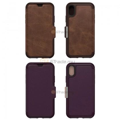 OTTERBOX Strada Folio Premium Leather Case   Apple iPhone Xs - Espresso *Free Gift