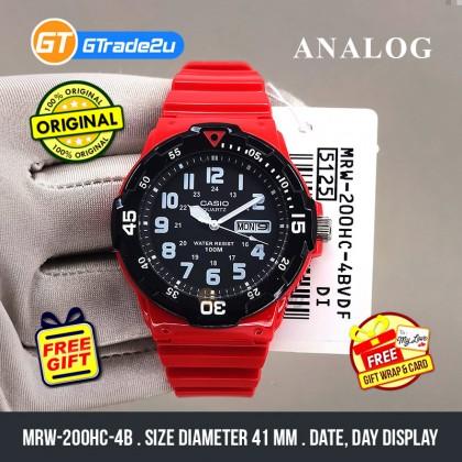 Casio Stardard Men MRW-200HC-4B MRW200HC-4B Analog Diver Bezel Watch Black Red Resin Band watch for man . jam tangan lelaki . casio watch for men . casio watch . men watch . watch for men  [READY STOCK]