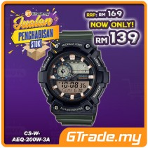 [CLEAR STOCK] CASIO STANDARD AEQ-200W-3AV Analog Digital Watch | World Map