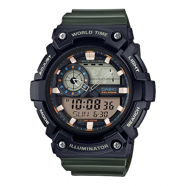 [CLEAR STOCK] CASIO STANDARD AEQ-200W-3AV Analog Digital Watch | World Map