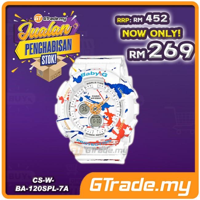 [CLEAR STOCK] CASIO Ladies BABY-G BA-120SPL-7A Digital Watch Street Splatter Design