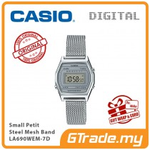 CASIO Women Ladies LA690WEM-7D Digital Watch | Small Petit Steel Mesh Band
