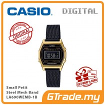 CASIO Women Ladies LA690WEMB-1B Digital Watch | Small Petit Steel Mesh Band