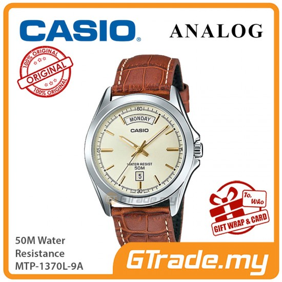 CASIO Men MTP-1370L-9A Analog Watch | Wide Day of the Week Indicator