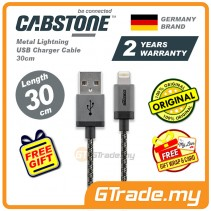 Cabstone Metal Lightning USB Charger Cable 30cm iPhone Xs Max Xr iPad Pro Mini *Free Gift