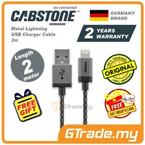 Cabstone Metal Lightning USB Charger Cable 2m iPhone Xs Max Xr iPad Pro Mini *Free Gift