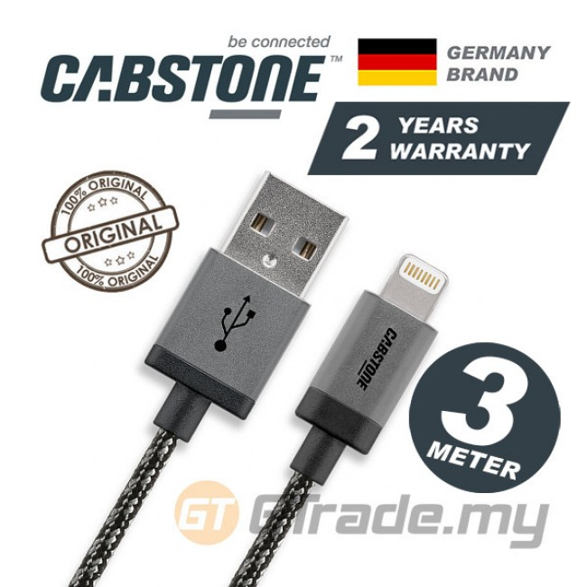 CABSTONE Metal Charger USB Cable Lightning 3m Apple iPhone iPad Xs Max Xr Air *CBSTR