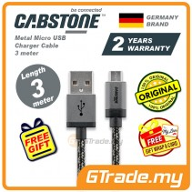 Cabstone Metal Micro USB Charger Cable 3m Samsung Sony Huawei *Free Gift
