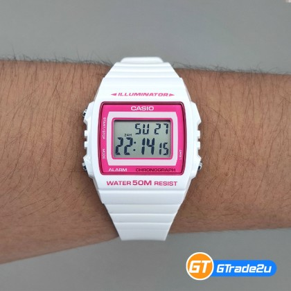 Casio Standard W-215H-7A2 W215H-7A2 Digital Pop Trend Watch Pink White Resin Band G Shock . watch for man . jam tangan lelaki . casio watch for men . casio watch . men watch . watch for men [READY STOCK]