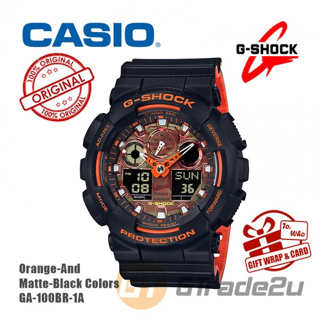 CASIO G-Shock GA-100BR-1A Digital Watch Orange Theme Color