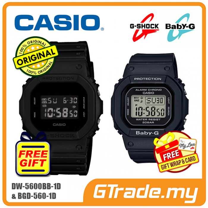 8ac26c1220ad CASIO G-Shock Baby-G DW-5600BB-1D BGD-560-1D Couple Watches