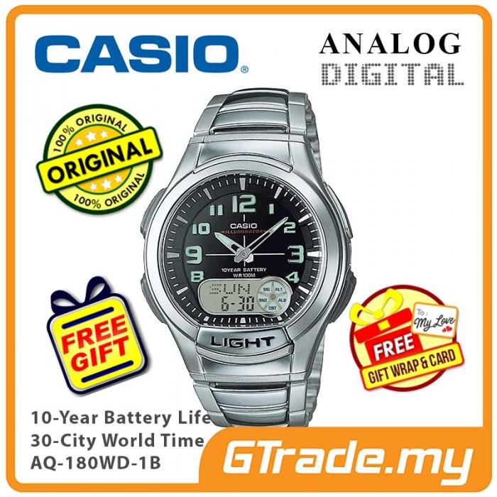 0542495b1d1 CASIO Men AQ-180WD-1B Analog Digital Watch 10 Yrs Battery  PRE