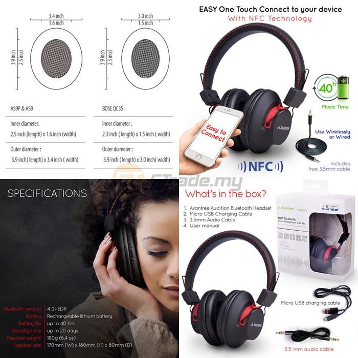 a95fa502ebf AVANTREE Wireless Bluetooth Over Ear Headphones Audition Hi-Fi aptX NFC
