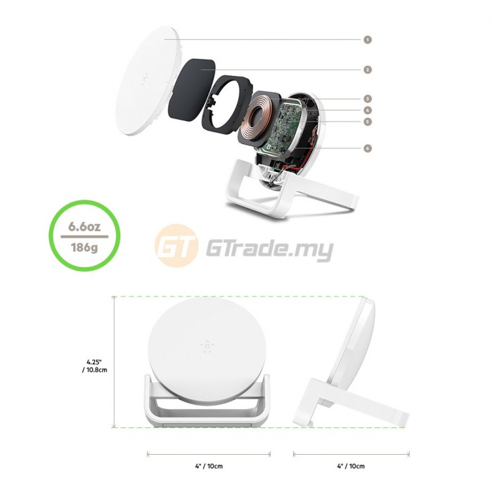 BELKIN Boost Up Wireless Charger Stand Pad 10W White Apple iPhone Samsung Sony