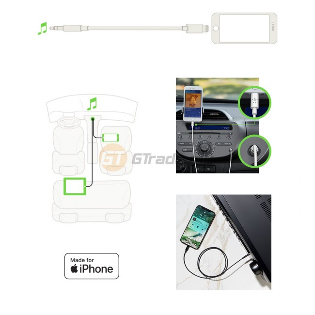 Belkin 3.5 mm Audio Cable With Lightning Connector White iPhone Xs Max X Xr 8 Plus *Free Gift