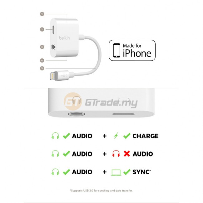 Belkin 3.5 mm Audio Headphone Jack+ Charging port RockStar iPhone Xs Max X Xr 8 Plus *Free Gift