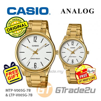 Casio Couple MTP-V005G-7B & LTP-V005G-7B Analog Watches Jam Tangan Pasangan