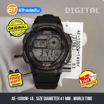 Casio Stardard Men AE-1000W-1A AE1000W-1A Digital World Time Watch Black Resin Band watch for man . jam tangan lelaki . casio watch for men . casio watch . men watch . watch for men [READY STOCK]