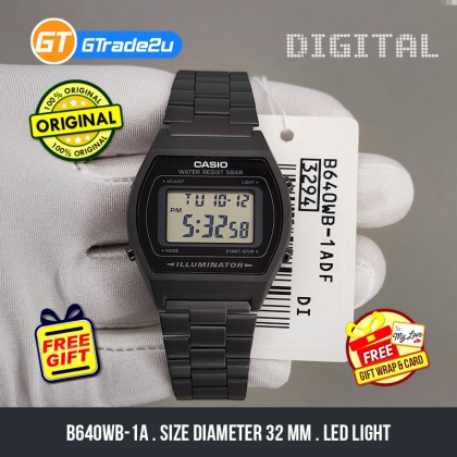 CASIO STANDARD B640WD-1A Men Digital LED Backlight Watch Stainless Steel Band Black watch for man . jam tangan lelaki . men watch . watch for men . casio watch for men . casio watch [READY STOCK]