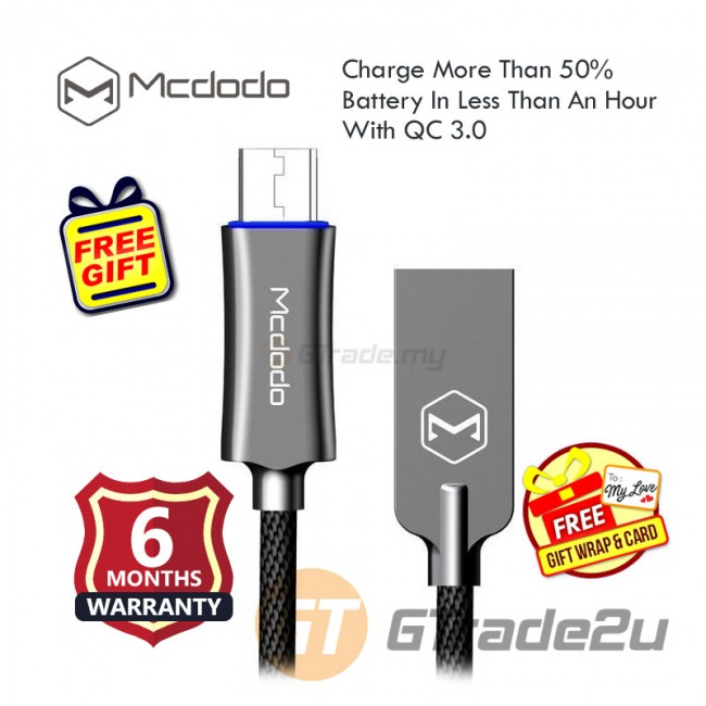 Mcdodo Auto Disconnect Micro USB  Charge Cable CA289 QC 3.0 Black *Free Gift