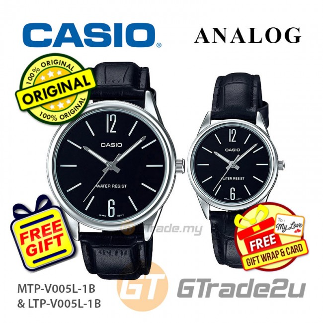Casio Couple MTP-V005L-1B & LTP-V005L-1B Analog Watches Jam Tangan Pasangan [PRE]