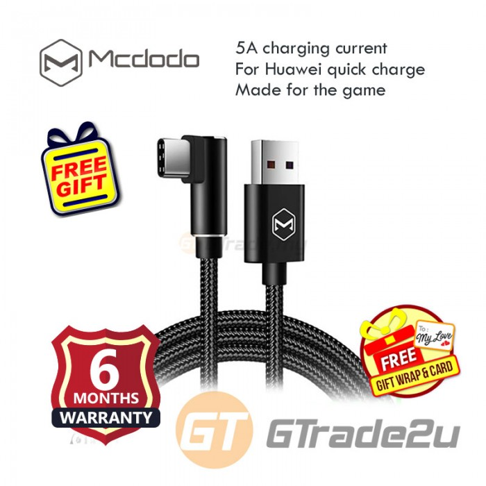 Mcdodo 90 1 2m 5a Type C Usb Gaming Charger Cable For