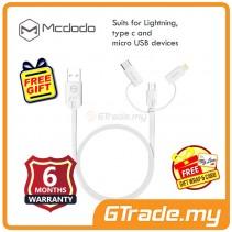Mcdodo MCA-1090 3 in 1 1M Type-C Micro USB Lightning USB White *Free Gift