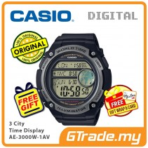 [READY STOCK] CASIO MEN AE-3000W-1AV Digital Watch | 3 Cities Time Disp. 10 Yrs Batt