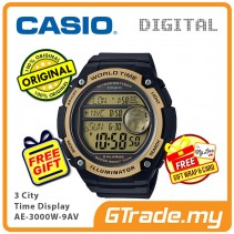 CASIO MEN AE-3000W-9AV Digital Watch | 3 Cities Time Disp. 10 Yrs Batt