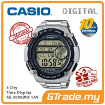 CASIO MEN AE-3000WD-1AV Digital Watch |3 Cities Time Disp. 10 Yrs Batt