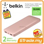 Belkin Pocket Power 10000 mah Power Bank Portable Charger Rose Gold *Free Gift