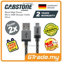 Cabstone Metal High Power Micro USB Charger Cable 60cm 2x faster Samsung Sony Huawei HTC Asus *Free Gift