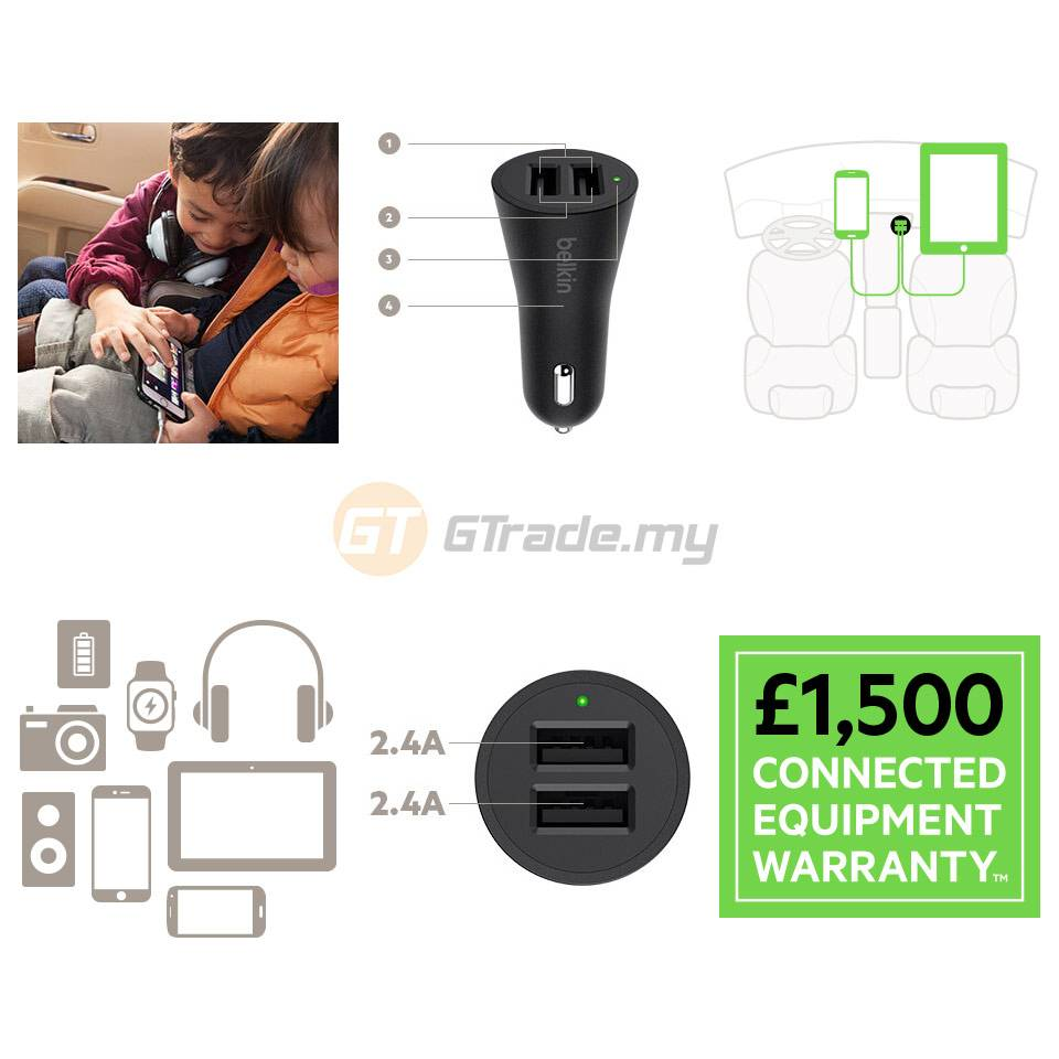 Belkin Boost Up 2 USB Port Quick Car Charger 4.8a Apple