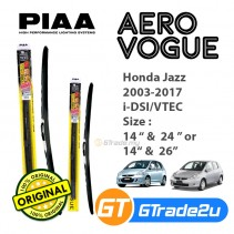 "Honda Jazz 2003-2017 i-DSI/VTEC Piaa Aero Vogue Silicone Windshield Wiper Blade 14""-26""/24"""